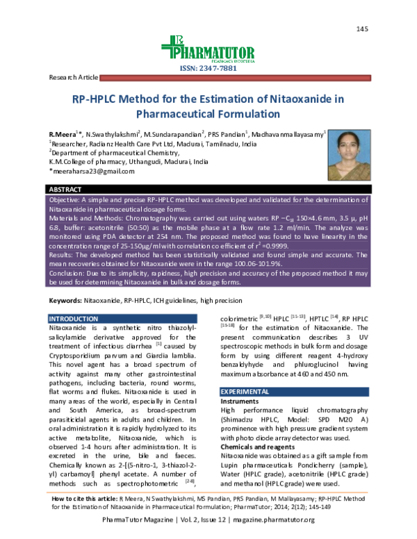 PDF) RP-HPLC Method for the Estimation of Nitaoxanide in