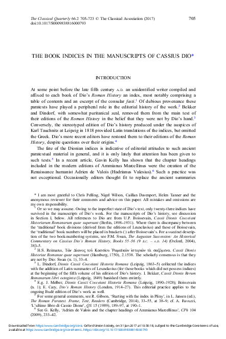 PDF) The Book Indices in the Manuscripts of Cassius Dio [Classical