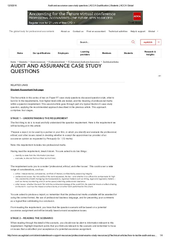 PDF) AUDIT AND ASSURANCE CASE STUDY QUESTIONS | kok kuan