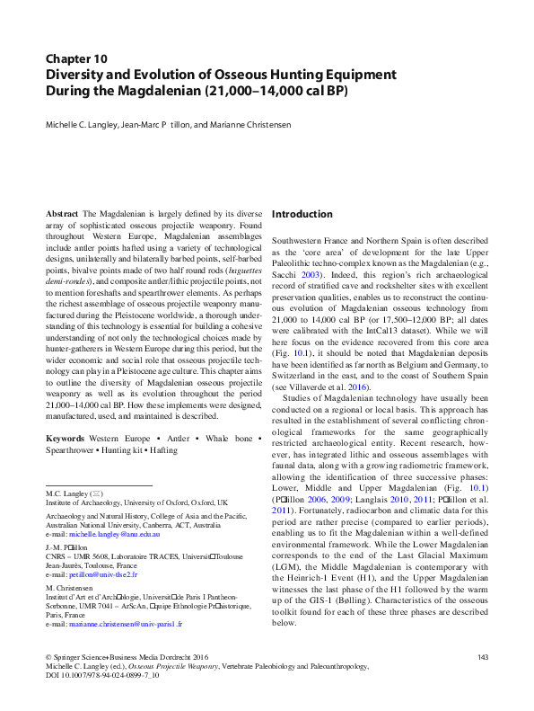 PDF) Diversity and Evolution of Osseous Hunting Equipment