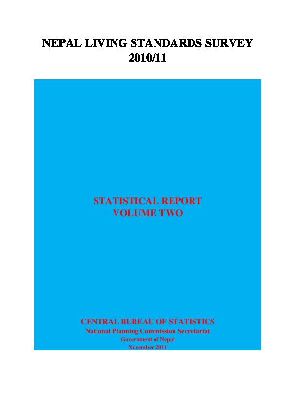 PDF) NEPAL LIVING STANDARDS SURVEY 2010/11 STATISTICAL