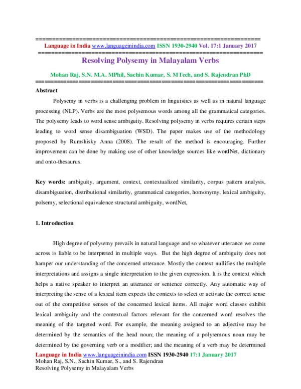 PDF) Resolving Polysemy in Malayalam Verbs   MOHAN RAJ