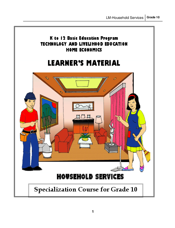 PDF) LM-Household Services Grade 10 K to 12 Basic Education