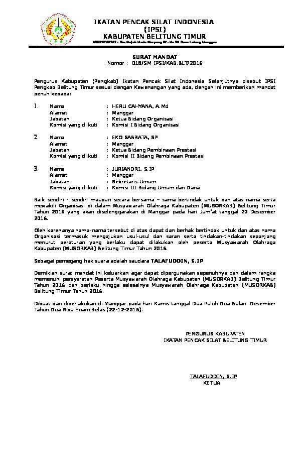 Doc Contoh Surat Mandatdoc Eko Sabrata Academiaedu