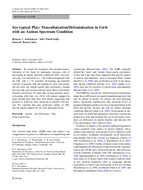 PDF) Sex-typical play: masculinization/defeminization in
