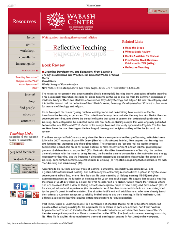 PDF) Review: K  Illeris, Learning, Development and Education