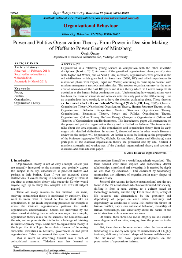 Pdf Power And Politics Organization Theory From Power In Decision Making Of Pfeffer To Power Game Of Mintzberg Ozgur Onday Academia Edu