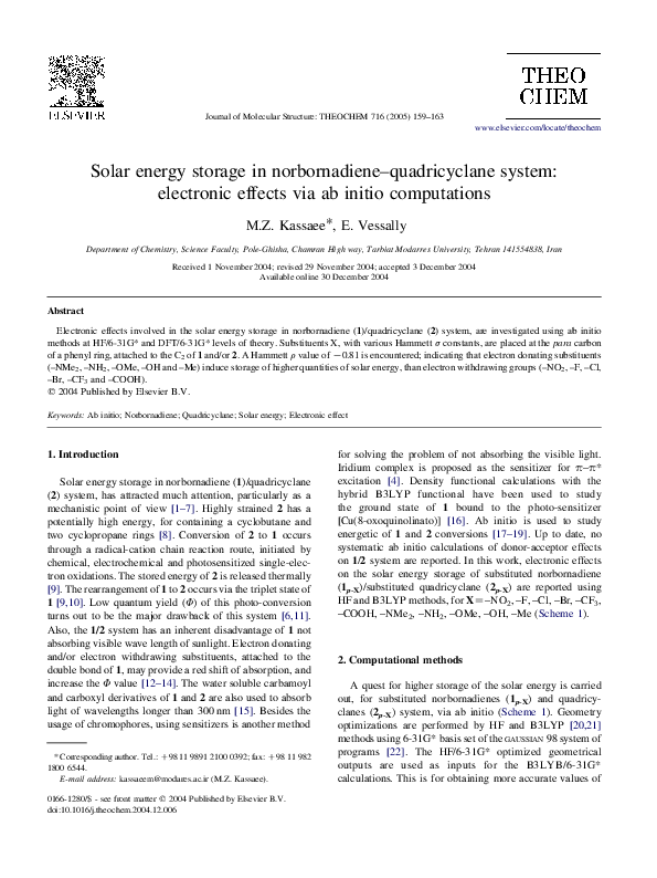 PDF) Solar energy storage in norbornadiene–quadricyclane