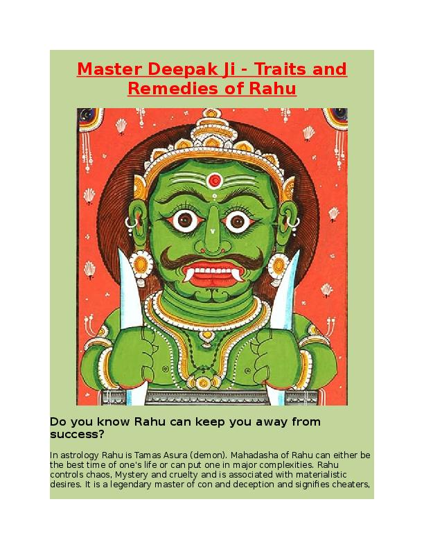 DOC) Master Deepak Ji -Traits and Remedies of Rahu | larson