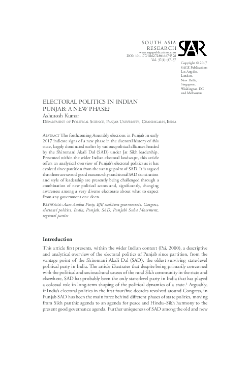 PDF) ELECTORAL POLITICS IN INDIAN PUNJAB: A NEW PHASE | Ashutosh
