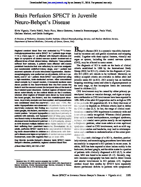 PDF) Brain perfusion spect in juvenile neuro-Behçet's