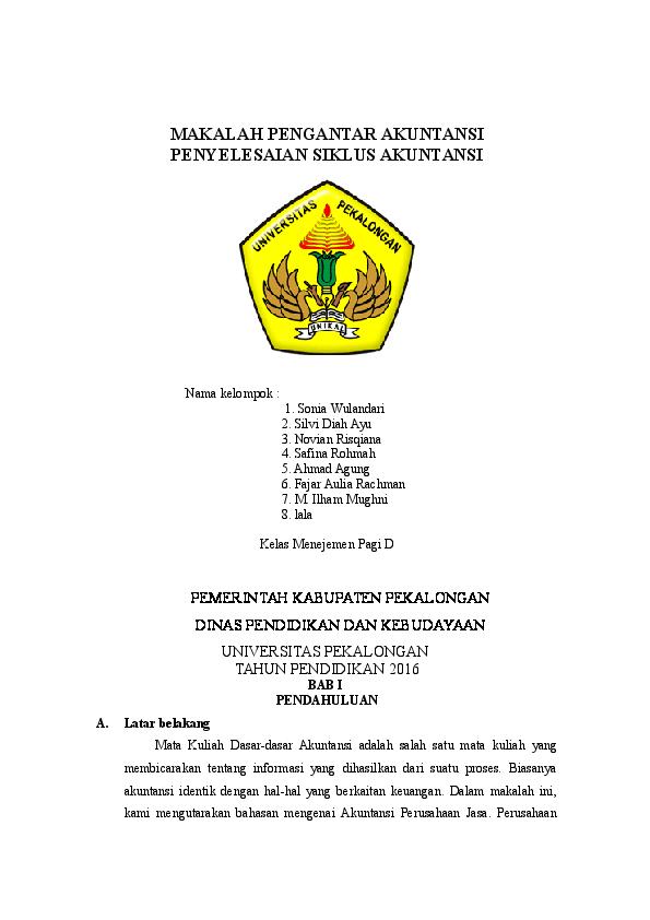 Doc Makalah Pengantar Akuntansi Yanuar Sapta Academia Edu