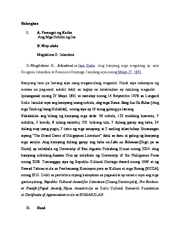DOC) Maikling kwento balangkas | Deverly Balba - Academia edu