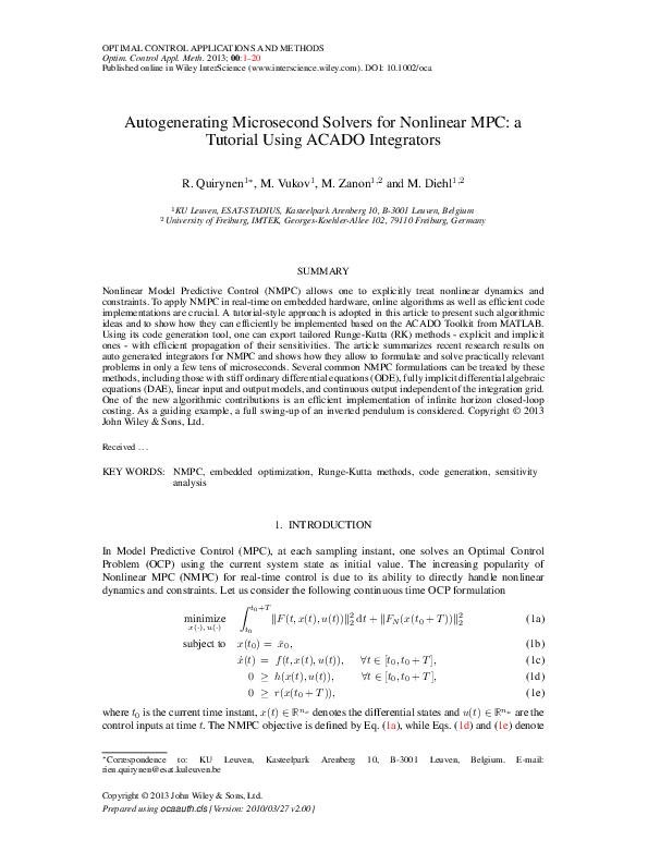 PDF) Autogenerating microsecond solvers for nonlinear MPC: A