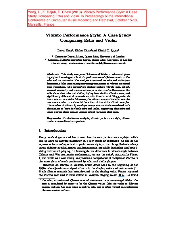 PDF) Vibrato Performance Style: A Case Study Comparing Erhu
