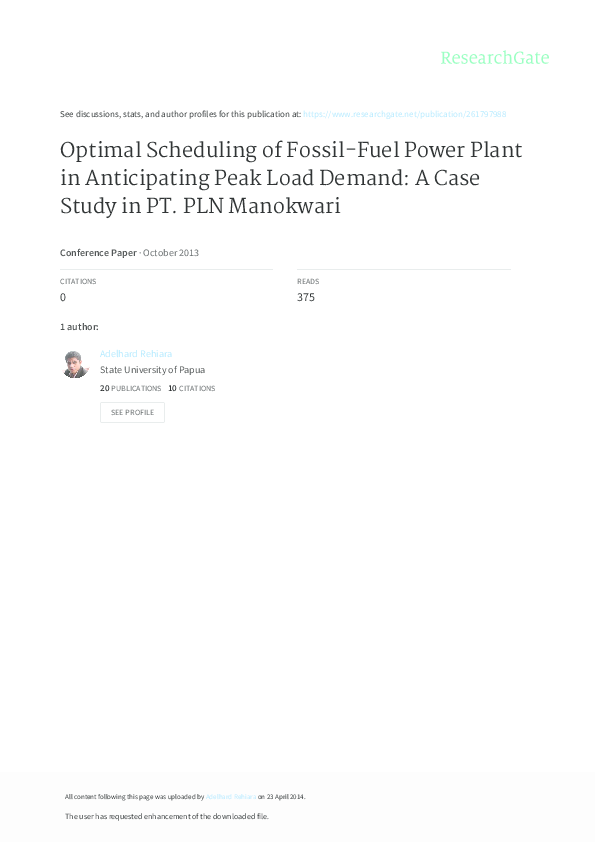 PDF) Optimal Scheduling of Fossil-Fuel Power Plant in