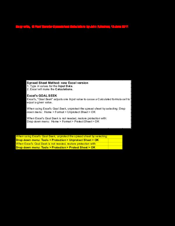 Heat Transfer Excel Calculations 1 | zakaria masud sony