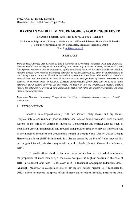 PDF) Bayesian Weibull Mixture Models for Dengue Fever | Sri Thamrin