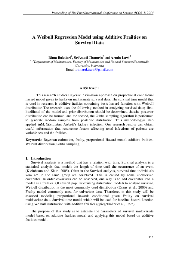 PDF) A Weibull Regression Model using Additive Frailties on Survival
