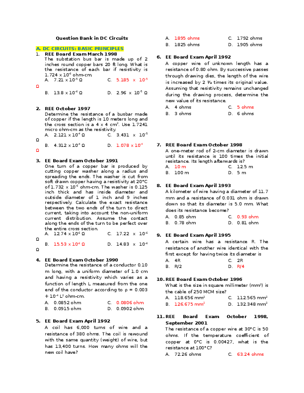 PDF) Question Bank in DC Circuits | argey catacutan