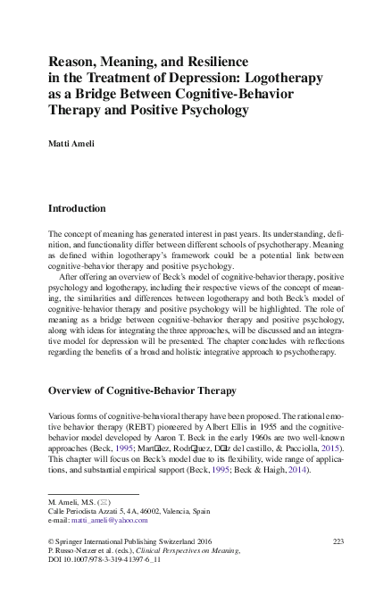 PDF) Reason, Meaning, and Resilience in the Treatment of