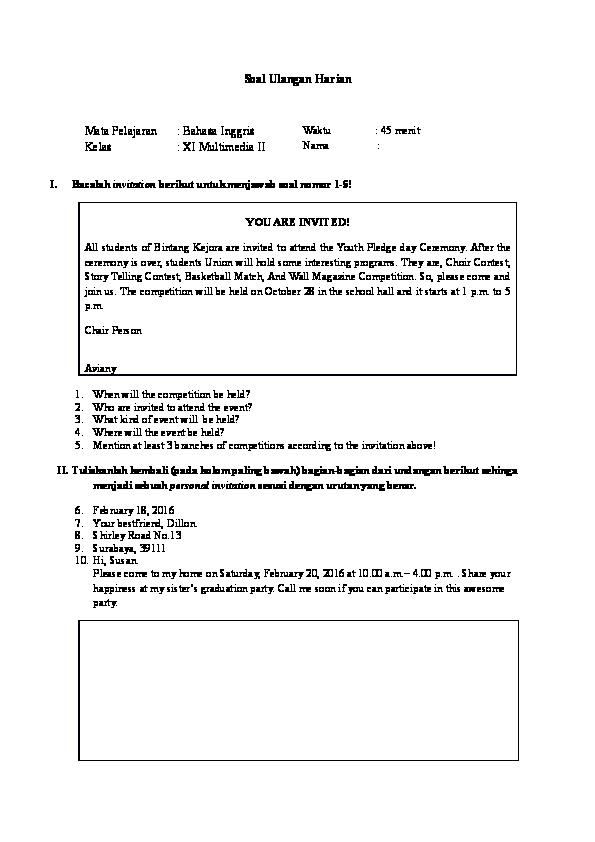 Contoh Soal Invitation Kelas 11 Beserta Jawabannya Contoh Soal Terbaru
