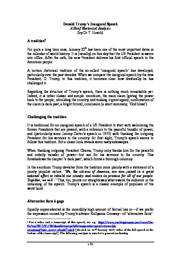 PDF Donald Trumps Inaugural Speech