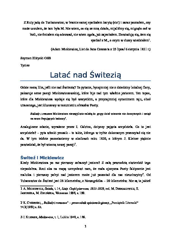 Doc Latać Nad świteziądocx Szymon Hiżycki Academiaedu