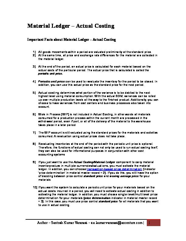 DOC) Material Ledger Functionality V   Santosh Varanasi - Academia edu