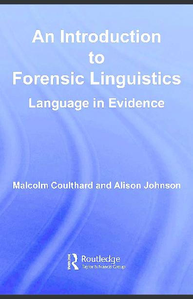 Pdf An Introduction To Forensic Linguistics Pdf Ali Safari Academia Edu