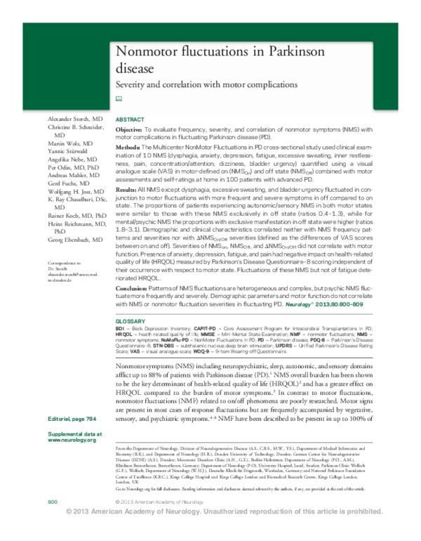 PDF) Nonmotor fluctuations in Parkinson disease: Severity