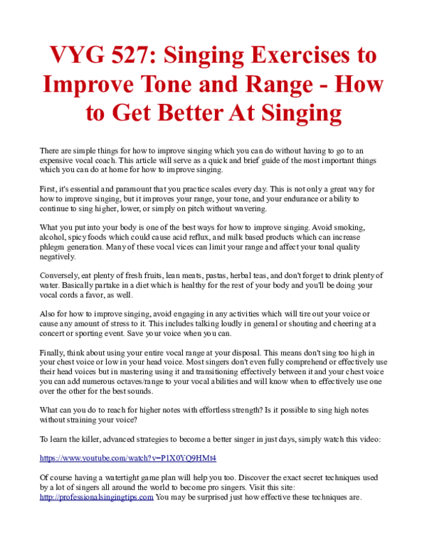 PDF) VYG 527: Singing Exercises to Improve Tone and Range -How to