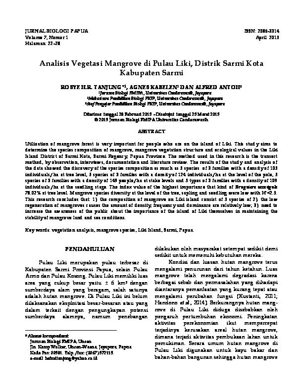 Pdf Analisis Vegetasi Mangrove Di Pulau Liki Distrik Sarmi Kota Kabupaten Sarmi Harlan Ramadika Academia Edu