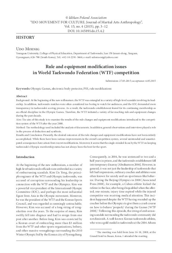PDF) Rule and equipment modification issues in World Taekwondo