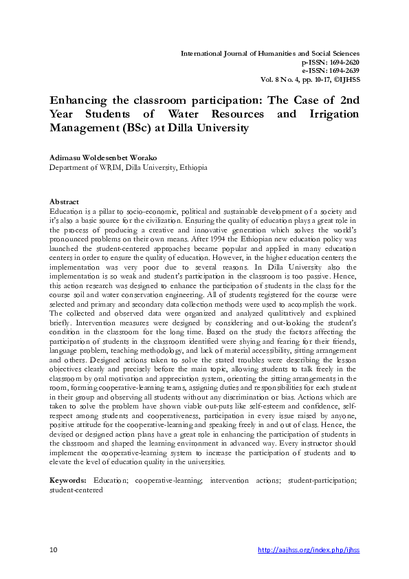 PDF) Enhancing the classroom participation: The Case of 2nd Year