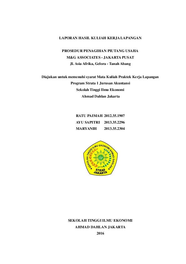 Contoh Laporan Kuliah Kerja Lapangan Jurusan Akuntansi Kumpulan Contoh Laporan