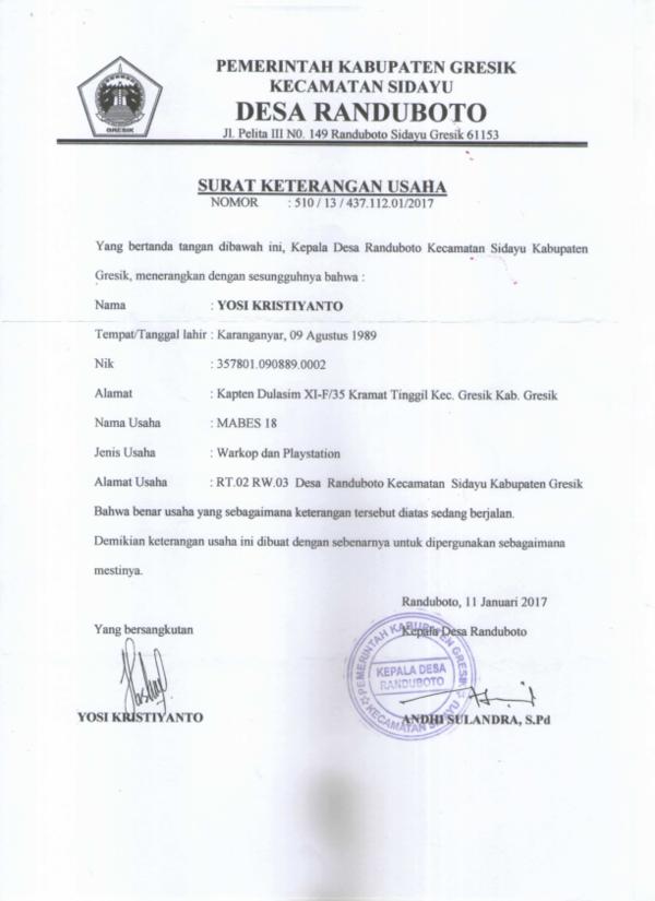Pdf Surat Keterangan Usaha Nurina Zets Academiaedu