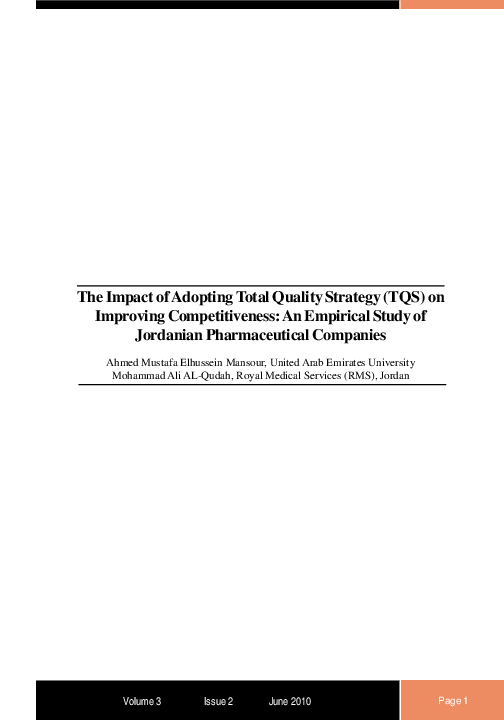 PDF) The Impact of Adopting Total Quality Strategy (TQS) on
