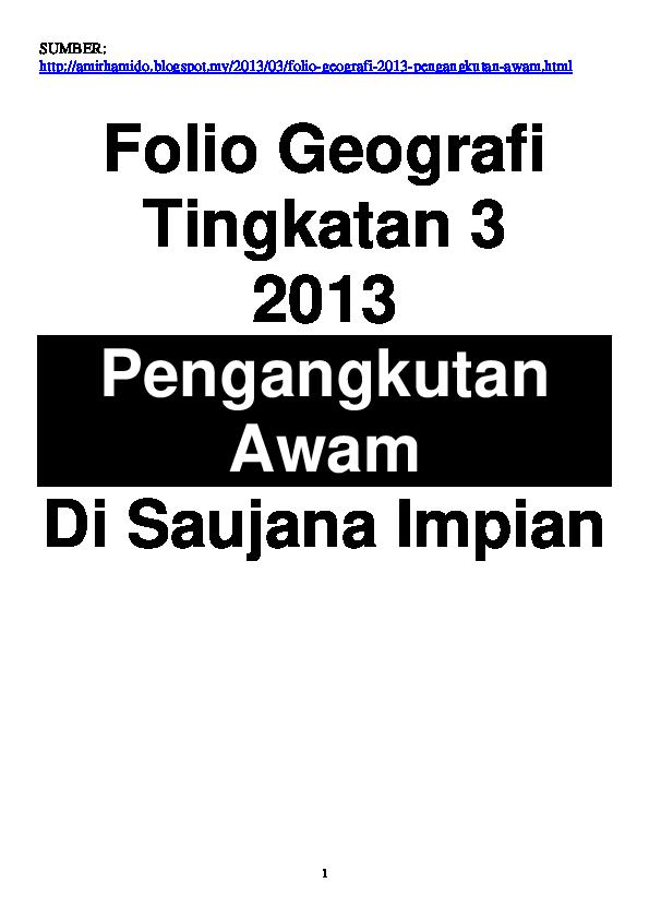 Pdf Contoh Folio Geografi Tingkatan 3 Pengangkutan Awam Ck Anesh Academia Edu