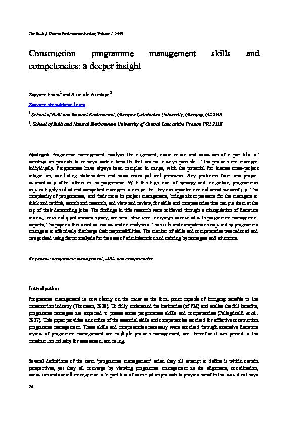 PDF) Construction programme management skills and