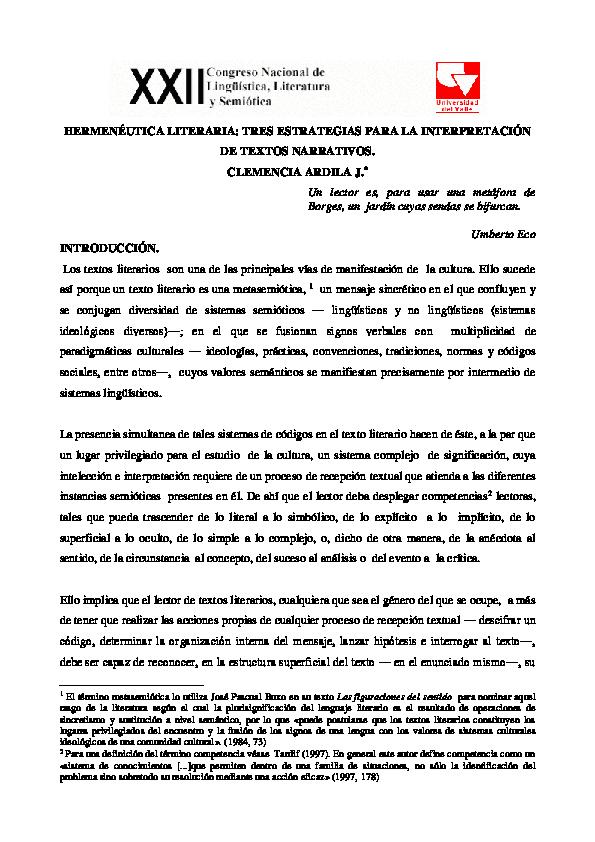 Pdf Hermenéutica Literaria Tres Estrategias Para La