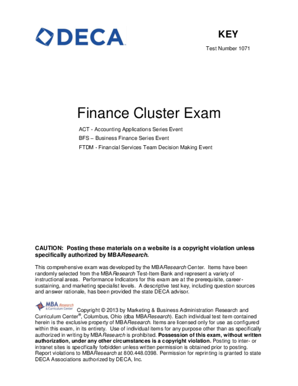 PDF) Finance Cluster Exam | Carl Zhou - Glenforest SS (2172