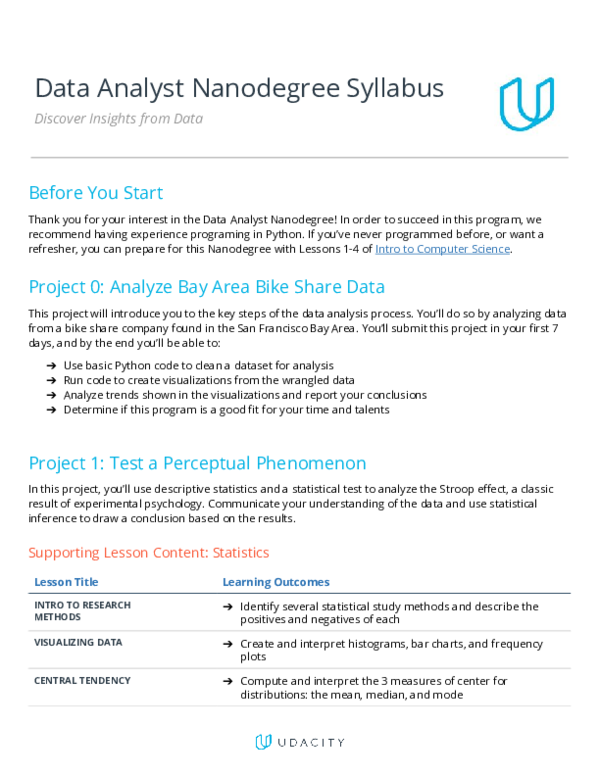 PDF) Data Analyst Nanodegree Syllabus Discover Insights from Data