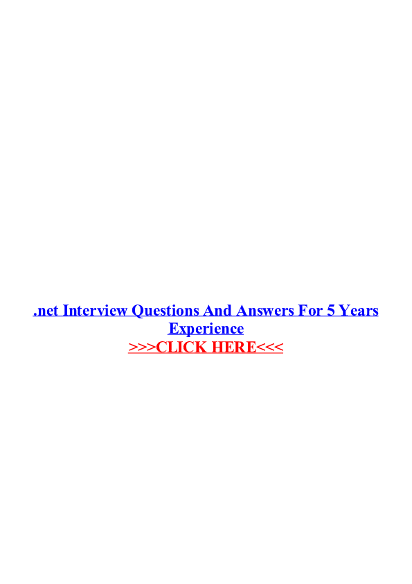PDF) Net interview questions and answers for 5 years