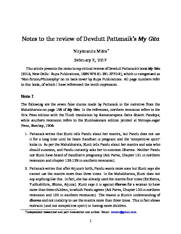 PDF) Notes to the review of Devdutt Pattanaik's 'My Gita