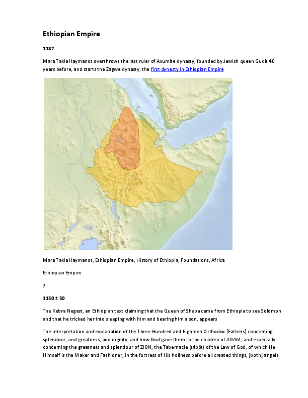PDF) Timeline of Ethiopian Empire   Angela Dondanville - Academia edu