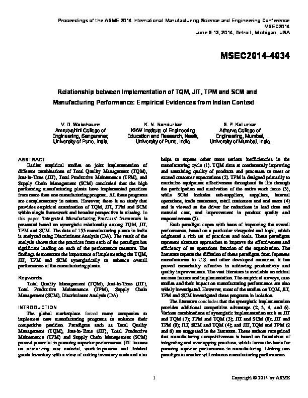PDF) Relationship Between Implementation of TQM, JIT, TPM and SCM