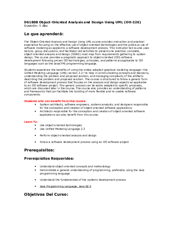 Doc D61808 Object Oriented Analysis And Design Using Uml Oo 226 Lo Que Aprendera Rafael Velazquez Academia Edu