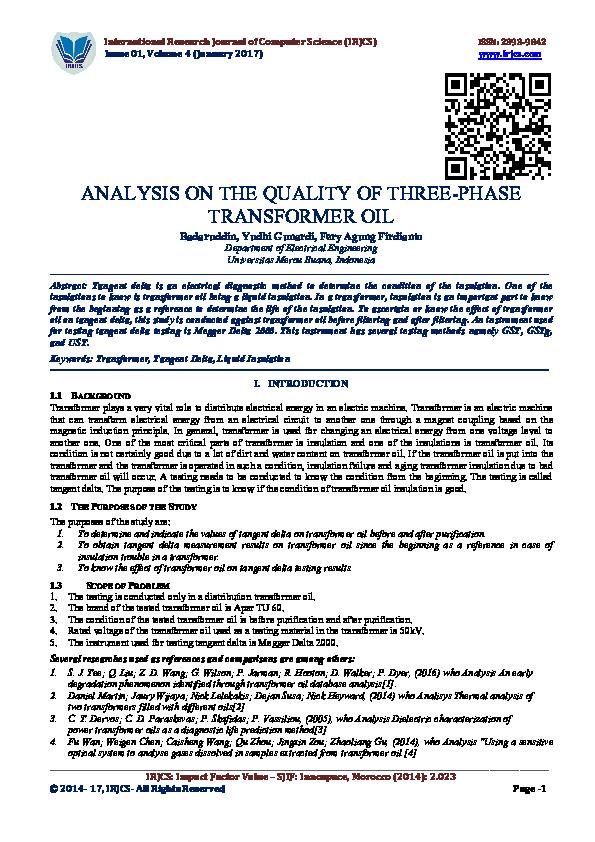 PDF) ANALYSIS ON THE QUALITY OF THREE-PHASE TRANSFORMER OIL | IRJCS
