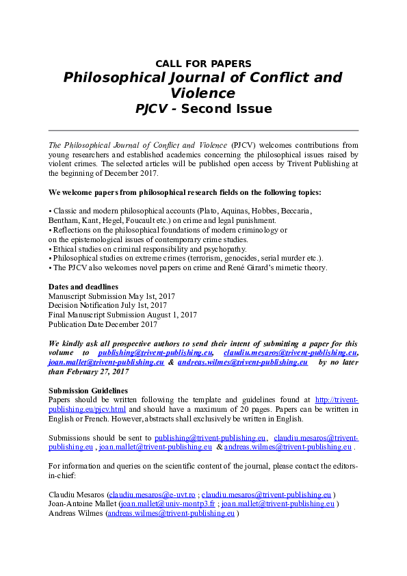 DOC) Philosophical Journal of Conflict and Violence PJCV